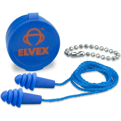 Elvex® Quattro™ Reusable Earplugs With Chain & Case, NRR 27, Corded, 50 Pairs/Box