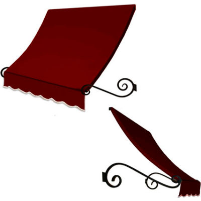 Awntech ECH1836-7B Window/Entry Awning 7-3/8'W x 1-1/2'H x 3'D Burgundy