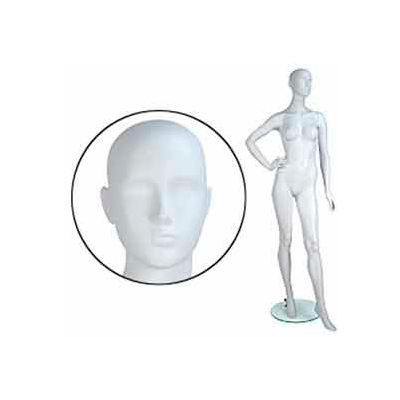 Fem. Mannequin - Abstr. head, Right Hand On Hip, Left Leg Bent - Cameo White