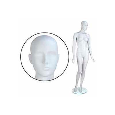 Fem. Mannequin - Abstr. head, Arms by Side, Right Leg Bent - Cameo White