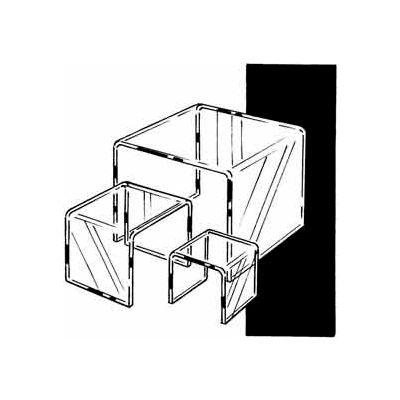 "Set Of 3 Acrylic Display Risers (4"", 6"" & 8"") - Clear - Pkg Qty 6"