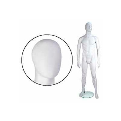 Male Mannequin - Abstr. Head, Arms by Side, Legs Bent - Cameo White