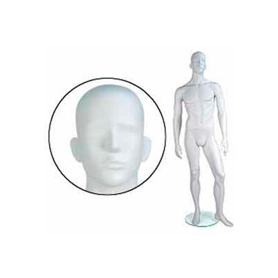 Male Mannequin - Abstr. Head, Arms by Side, Left Leg Forward - Cameo White