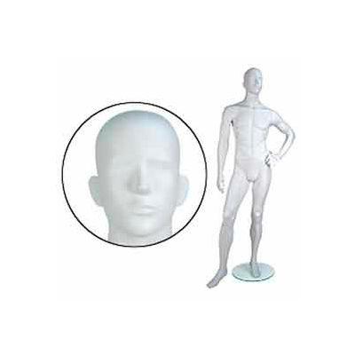 Male Mannequin - Abstr. Head, Left hand on Hip, Left Leg Forward - Cameo White