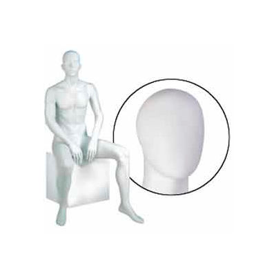 Male Mannequin - Oval Head, Seated - Cameo White
