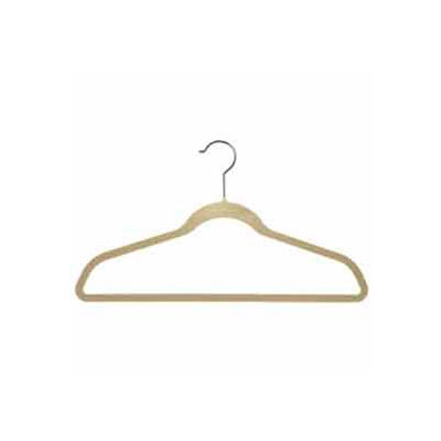 "17"" L Suit Hanger With Bar - Flocked Velvet Camel - Pkg Qty 50"
