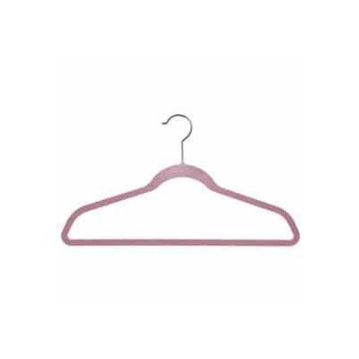 """17"""" L Suit Hanger With Bar - Flocked Velvet Pink - Pkg Qty 100"""