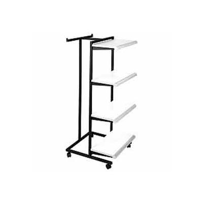 "Frame w/ 4-24"" Almond Shelves and 1 T-Stand 1"" Square Tubing - Black Frame"