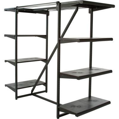 """Double Hangrail Frame w/ 8-24"""" Black Shelves 1"""" Square Tubing - Matte Black Frame"""