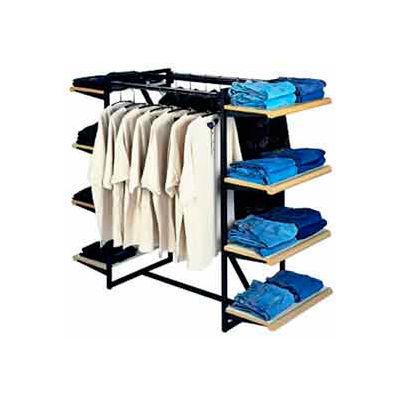 "Double Hangrail Frame w/ 8-24"" Grey Shelves 1"" Square Tubing - Matte Black Frame"