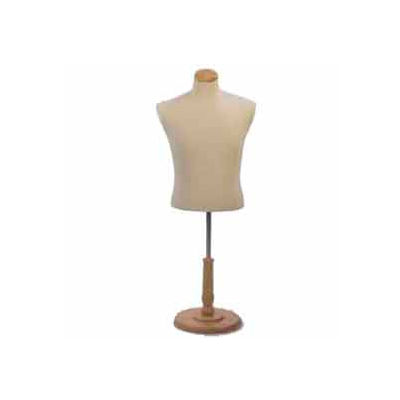 Male Shirt Form Tailor Bust, Neckblock and Base Included - Natural