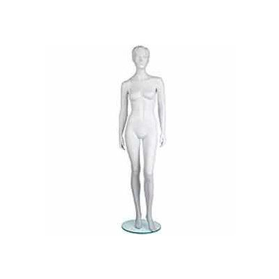 Female Mannequin - Molded Hair, Hands by Side, Left Leg Bent - Cameo White