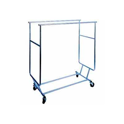 Collapsible Rolling Garment Rack RCS-3 w/ Double Rail Round Tubing - Chrome