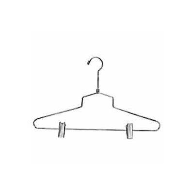 "16"" L Steel Combination Hanger W/ Vinyl Cushion Clips And Regular Hook - Chrome - Pkg Qty 100"