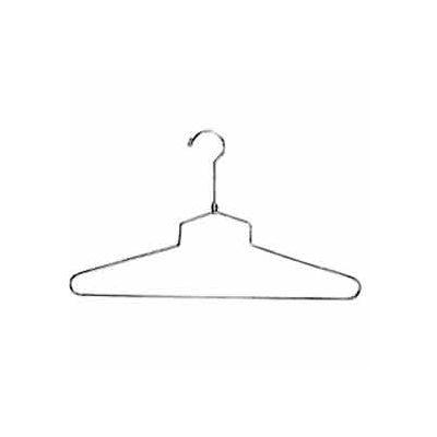 "18"" L Steel Blouse And Dress Hanger W/ Regular Hook - Chrome - Pkg Qty 100"