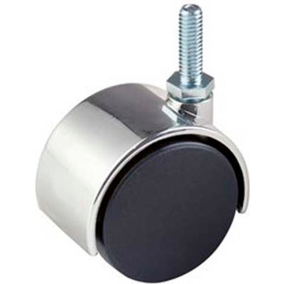 "2"" Plastic Twin Wheel Caster W/ 1"" Stem - Chrome Hood Black - Pkg Qty 72"