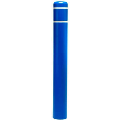 "Post Guard® Bollard Cover 3508W, 8-7/8""Dia. X 72""H, Blue W/White Tape"