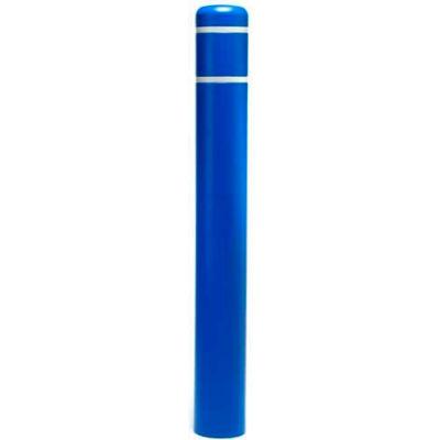 "Post Guard® Bollard Cover CL1385K, 4-1/2""Dia. X 52""H, Blue W/White Tape"