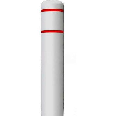 "Post Guard® Bollard Cover CL1385O, 4-1/2""Dia. X 52""H, White W/White Tape"