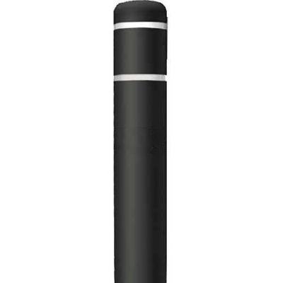"Post Guard® Bollard Cover CL1385Q, 4-1/2""Dia. X 52""H, Black W/White Tape"