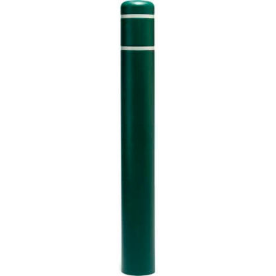 "Post Guard® Bollard Cover CL1385S, 4-1/2""Dia. X 52""H, Green W/White Tape"