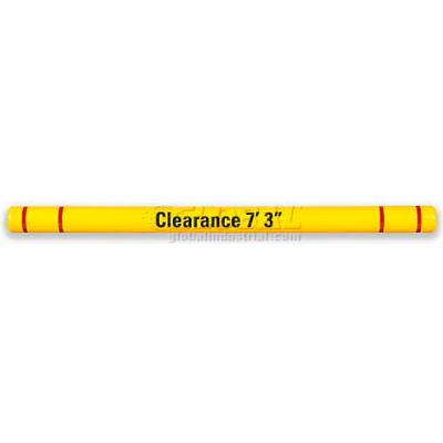"Height Guard™ Clearance Bar HTGRD796YR, 7""Dia. X 96""L, Yellow W/Red Tape & Graphics"
