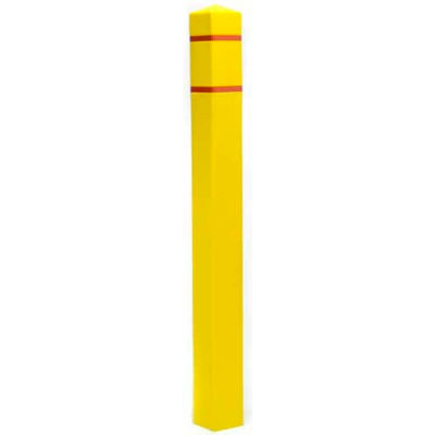 "Post Guard® Bollard Cover SQ455YR, 4-1/2""Dia. X 55""H, Yellow W/Red Tape, Square"