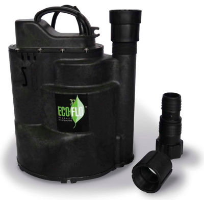 Eco-Flo SUP57 Submersible Utility Pump, Automatic, 1/4 HP, 1800 GPH