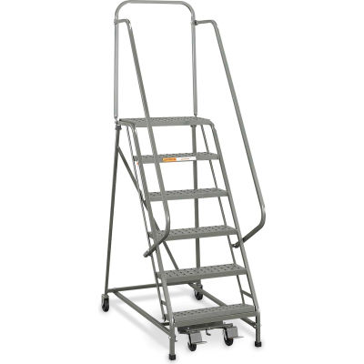"""EGA Industrial Rolling Ladder 8-Step 26"""" Wide Perforated, Gray 450Lb. Capacity - L055"""