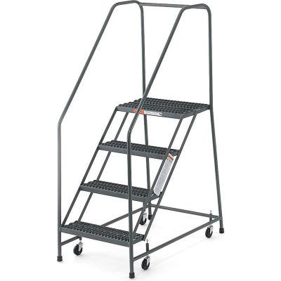 "EGA Steel EZY-Climb Ladder w/ Handrails 3-Step, 30"" Wide Perforated, Gray, 450 lb. Cap. - R026"