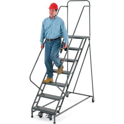 "EGA Steel EZY-Climb Ladder w/ Handrails 8-Step, 24"" Wide Perforated, Gray, 450 lb. Cap. - R107"