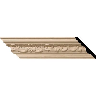 "Ekena Medway Carved Wood Crown Moulding MLD03X03X05MEMA, 3-1/2""H x 3-5/8""D x 5""F x 96""L"