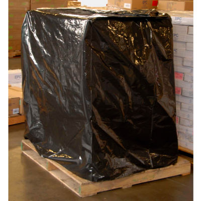 """LDPE Pallet Cover With UVI Additive 73"""" x 51"""" 3 Mil Black 50 Pack"""