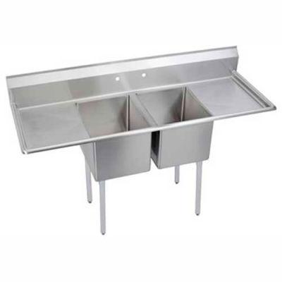 Elkay® E2C20X20-2-20X NSF Sink, 2-Compartment w/20L x 20W Bowl, 12 Deep, (2) 20 Drainboards