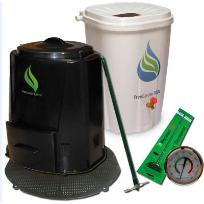 Enviro World EARTH Package - Rain Barrel, Compost Bin W/Base, Thermometer and Turner -EWC-202