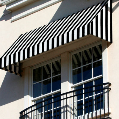 Awntech EN1030-3KW, Window/Entry Awning 3-3/8'W x 1-5/16'H x 2-1/2'D Black/White
