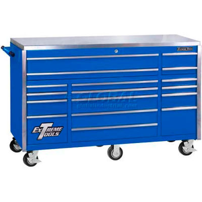 """Extreme Tools 72"""" 17 Drawer Triple Bank Professional Roller Cabinet in Blue"""