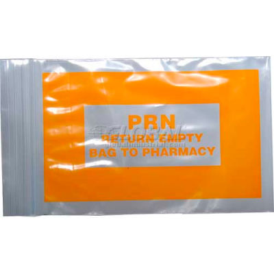 "Orange PRN Bag - Seal Top Reclosable, 2 mil, 4"" x 6"", Pkg Qty 1000"