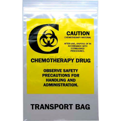 "4 Mil Reclosable Seal Top Chemo Transfer Bags, 15""L x 12""W, Yellow, Pack of 500"