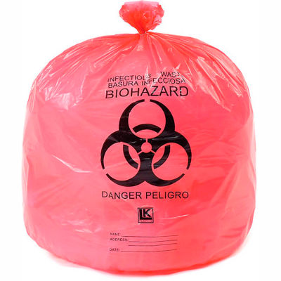 """High Density Red Infectious Waste Liner, 13 Microns, 24"""" x 30"""", Pkg Qty 500"""