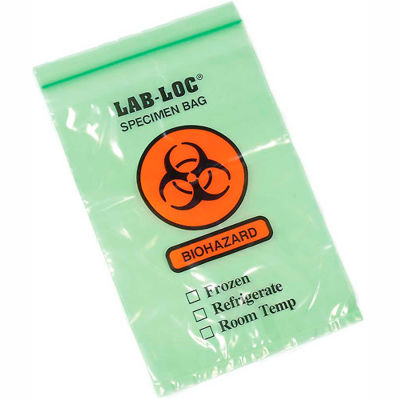 "Reclosable 3-Wall Specimen Transfer Bag (Biohazard), 6"" x 9"", Green Tint, Pkg Qty 1000"