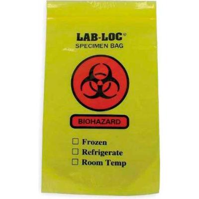 "Reclosable 3-Wall Specimen Transfer Bag (Biohazard), 6"" x 9"", Yellow Tint, Pkg Qty 1000"