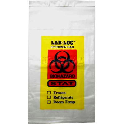 "Clear Adhesive Closure Tamper Evident 3-Wall Specimen Transfer Bag, 2 mil, 10"" x 10"", Pkg Qty 1000"