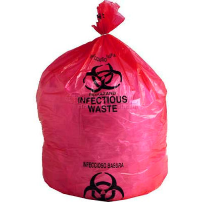 """Linear Low Density Red Infectious Waste Liner, 1.5 mil, 24"""" x 24"""", Pkg Qty 200"""