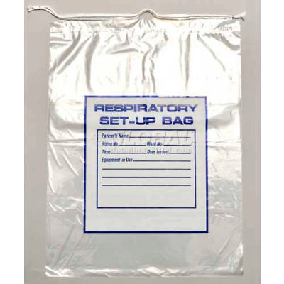 "2 Mil Respiratory Setup Bags With Drawstring, 16""L x 12""W, Clear, Pack of 500"