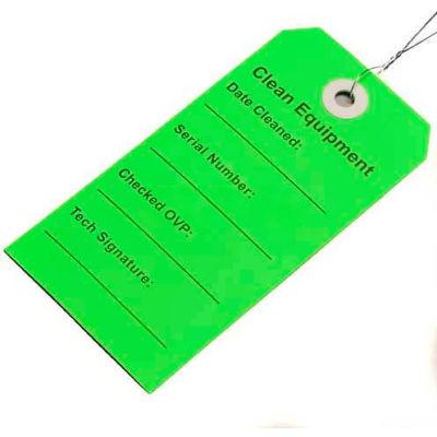 "Clean Equipment Tag, Green, 2-5/16"" x 4-3/4"", Pkg Qty 500"