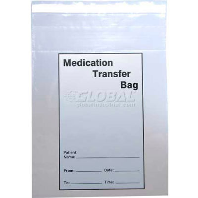 """2 Mil Tamper Evident Medication Transfer Bags, 10""""L x 8""""W, Clear, Pack of 1000"""