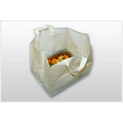 White Take-Out Bags (No Print) With Loop Handle And Cardboard Insert, 15-1/4 x 24 Mil, Pkg Qty 100
