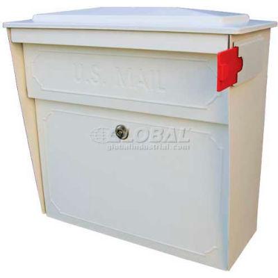 Townhouse Wall Mount Mail Boss Locking Mailbox White