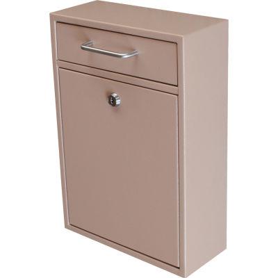 """Mail Boss Epoch Wall Mount Locking Drop Box 7419 11-1/4""""W x 4-3/4""""D x 16-1/4""""H Tan"""